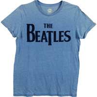 Beatles Men's  Drop T Logo T-shirt Navy Rockabilia