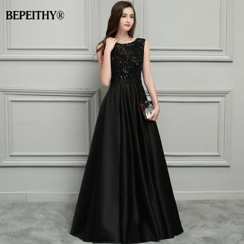 BEPEITHY Sexy Backless Black Long Evening Dress 2017 Vestido De Festa New Bridal Satin Prom Dresses With Belt Hot Sale