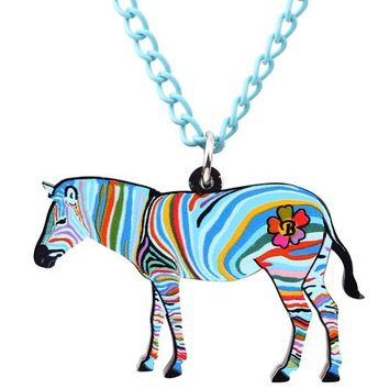 Animal Necklace Zebra Pinto Africa Jungle  Pendant Chain Collar Choker Pendant Fashion Jewelry For Women Girl