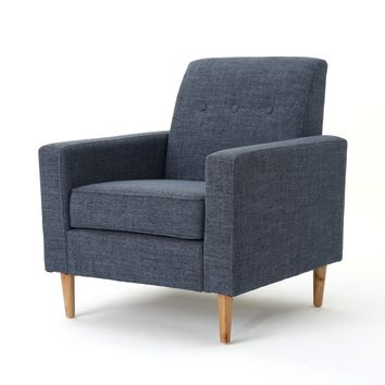 Stratford Mid Century Modern Fabric Club Chair
