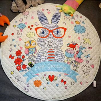 Round Baby Play Mat Kids Floor Puzzle Crawling Rugs Soft Cartoon Blanket Carpet Baby Gym Playmat Best Gift for Children