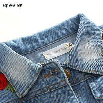 Fashion Spring Casual Kids Girls Embroidery Coats Jackets Long Sleeve Denim Baby Girls Outerwear Princess Outfits