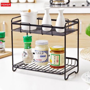 2-Layers Iron Storage Rack Spice Condiment Holder Basket Desk Organizer Kitchen Bathroom Storage Holder Rack Shelf Accessories