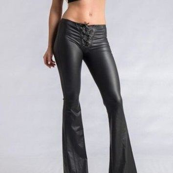 Hipster Faux Leather Flared Pants