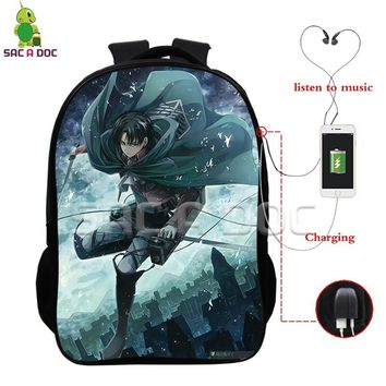 Cool Attack on Titan  Scoutine Legion Eren Levi Backpack Multifunction USB Charging Headphone Jack Laptop Bags Boys Girls Schoolbags AT_90_11