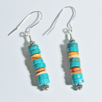 Southwestern Orange Spiny Oyster and Turquoise Silver Earrings