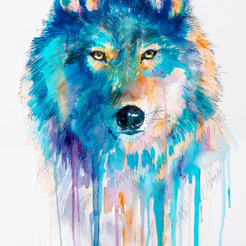"""Wolf watercolor painting print 8"""" x 12"""" blue, beautiful, dog, watercolor, art, Painting, Animals, Illustration"""