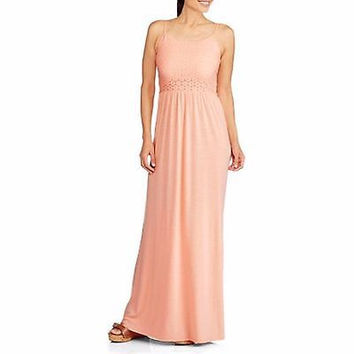 14th Place Women's Lace Bodice Maxi Dress, Pink, Large (12-14)