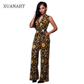 2016 New Women Fashion Sexy Jumpsuits V-Neck Black gold Print Metal Sashes Rompers Womens Jumpsuit Summer Autumn Work Clothing