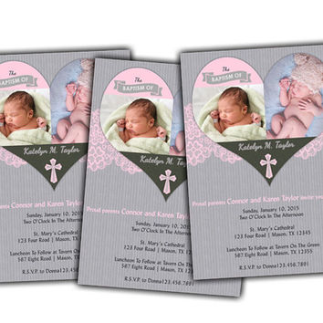 Dainty Pink Photo Baptism Invitation for Girls - Pink Christening Invitations - Spanish - Rose Powder - Pink Lace - Grey - Girl - Invite