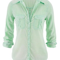 Mojito Lightweight Button Down Boyfriend Shirt - Mojito