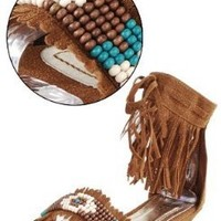 Bamboo Topnotch 02 Woman's Beaded Fringe Sandal (8)
