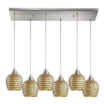 528-6RC-GLD Fusion 6 Light Pendant In Satin Nickel And Gold Leaf Glass
