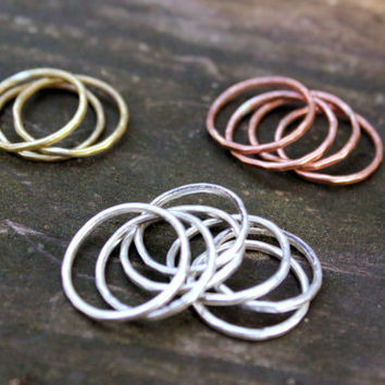 Stackable Rings  Hammered Silver / Bronze / Copper by MorgaineFaye