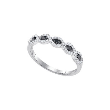 10kt White Gold Womens Round Black Colored Diamond Band Ring 1/3 Cttw 89218