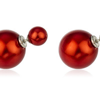 Sterling Silver 360 Simulated Pearl Double Sided Stud Earrings (Red/silvertone)
