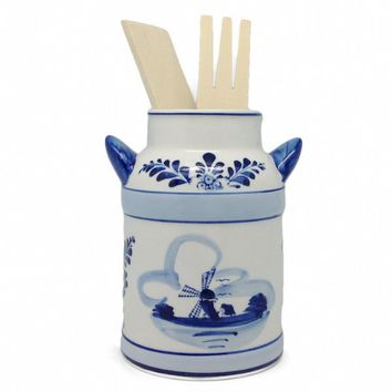 Delft Blue Milk Can Kitchen Utensils Holder