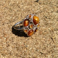 Vintage Emmons Amber Topaz Crystals Azurite Chrysocolla Cocktail Ring