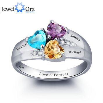 Mothers Rings Personalized Engrave Heart Birthstone Jewelry 925 Sterling Silver Ring Birthday Gift for Mom(JewelOra RI101793)