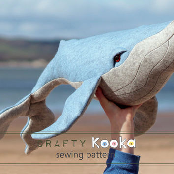 Stuffed animal sewing pattern,  whale plush sewing pattern, humpback whale sewing pattern - instant download pdf pattern - sewing projects
