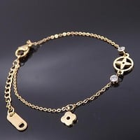 LV Louis Vuitton Trending Women Stylish Crystal Bracelet Titanium Bracelet Accessories Jewelry I12386-1