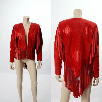 Vintage 80s Red Suede Leather Fringe Indian Jacket 1980s Aztec Southwestern Rockabilly size S-M Hippie Western Rodeo Cowgirl Jacket