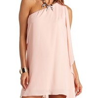 DRAPING ONE SHOULDER CHIFFON SHIFT DRESS