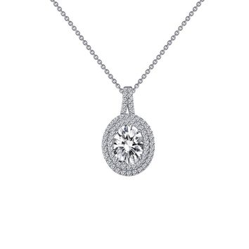 Lafonn Classic Sterling Silver Platinum Plated Lassire Simulated Diamond Necklace (2.06 CTTW)