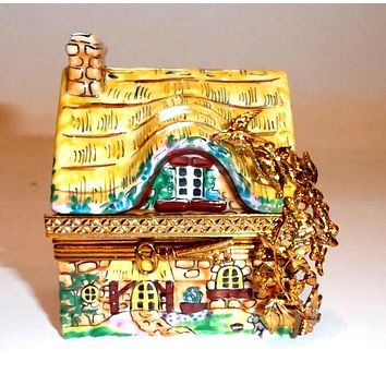 Yellow Cottage House Limoges Box
