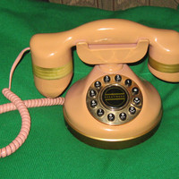 Vintage salmon  pink  color French style telephone