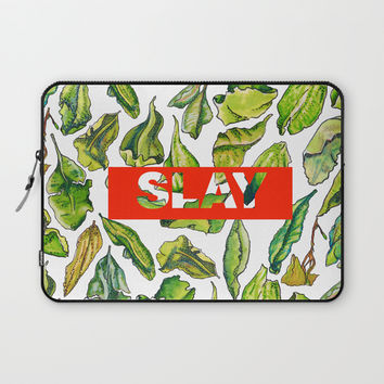 slay tea slay! // watercolor tea leaf pattern with millennial slang Laptop Sleeve by Camila Quintana S