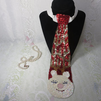 Vintage Christmas Tie, Christmas Fun Tie, Boss Fun Tie, Gold, Red and White Christmas Tie, Bunny Tie, Christmas Party Fun, Yanky Trade Gift