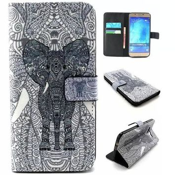 Aztec Style Elephant Print Leather Case Cover Wallet for iPhone & Samsung Galaxy-170928
