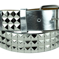 Cyber Silver Metallic 3 Row Pyramid Stud Belt Genuine Leather