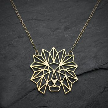 Yiustar Origami Lion Necklace Animal Pendant Necklace For Women Best Friends Pendant Hollow Groot Lion Chain Nekclaces Jewelry