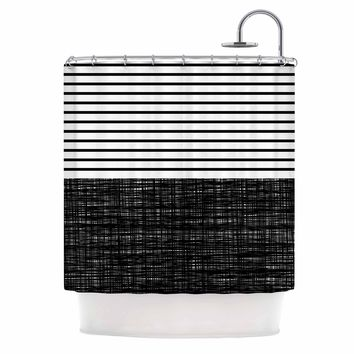 "Trebam ""Platno (with Black Stripes)"" Black White Shower Curtain - Outlet Item"