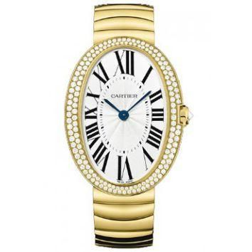 Cartier Baignoire Silver Dial Gold Bracelet Ladies Watch WB520021