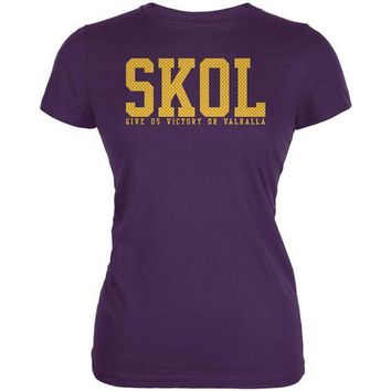 PEAPGQ9 Vikings Skol Give Us Victory or Valhalla Juniors Soft T Shirt