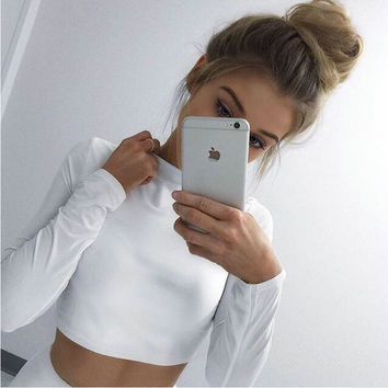White Long Sleeve Crop Sweatshirt