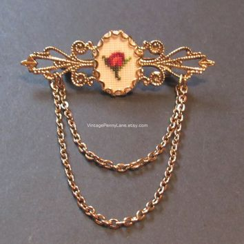 Vintage Needlepoint Pin, Gold Bar Brooch with Chains, Red Rose