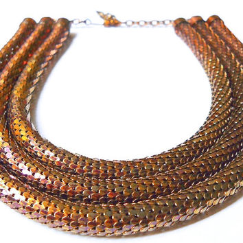 Egyptian Mesh WHITING and DAVIS Necklace, 3-Strand, Coil Copper Color, Vintage Signed