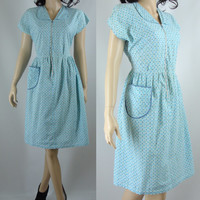 Vintage Dress, Fifties Cotton Zipper Front Blue Patterned House Dress, Medium