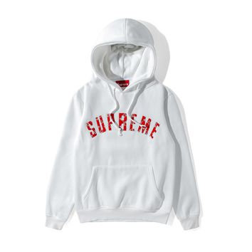Supreme autumn and winter tide brand men and women embroidered letters hooded wild hooded sweater White