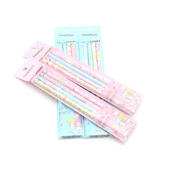 4 Pcs lot Cute Kawaii Love Story Aihao Hb Kids Wooden Kids Writing Standard Pencils School Office Supplies Stationery Tools