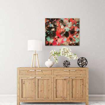 """Rosa Picnic """"Abs-7"""" Black Blue Abstract Contemporary Painting Watercolor Birchwood Wall Art"""