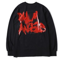 Moncler Genius x Palm Angels casual couple tops are hot for sale, with long sleeves and graffiti prints Black