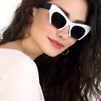 White Chunky 3/4 Frame Retro Cat Eye Sunglasses