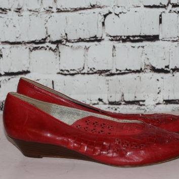 70s red leather flats woven wedge pointy stacked wood grunge boho hipster hippie hipster goth 80s festival 8