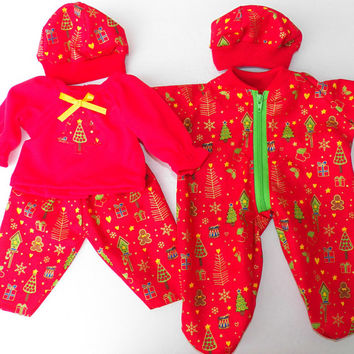 American Girl Bitty Baby Twin Clothes  15 inch Doll Boy and Girl Red Christmas Tree Zip Pajamas Hat, T shirt, Pants 5pc sets