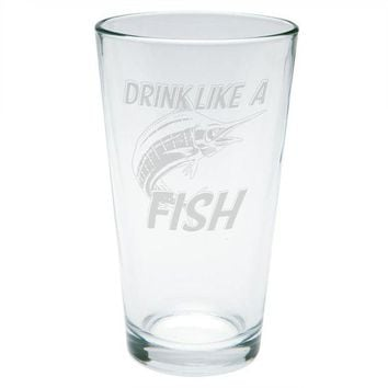 LMFCY8 Drink Like A Fish Marlin Deep Sea Etched Pint Glass